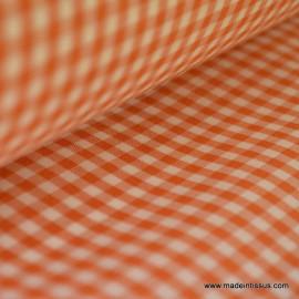 Tissu vichy polyester coton orange et blanc .x1m