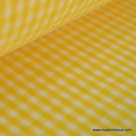 Tissu vichy polyester coton jaune et blanc .x1m