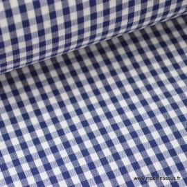 Tissu vichy polyester coton marine et blanc .x1m
