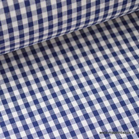 Tissu vichy polyester coton marine et blanc