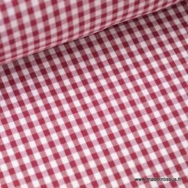 Tissu vichy polyester coton bordeaux et blanc . x1m
