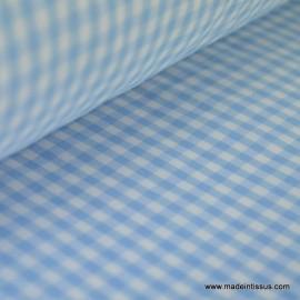 Tissu vichy polyester coton ciel et blanc .x1m