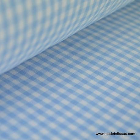 Tissu vichy polyester coton ciel et blanc