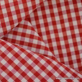 Tissu vichy polyester coton rouge et blanc . x1m