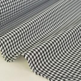 Tissu vichy polyester coton noir et blanc . x1m