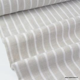 Tissu chambray aspect Lin à rayures coloris Lin et blanc