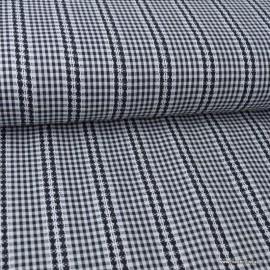Tissu vichy petits carreaux avec broderie anglaises Noir et blanc
