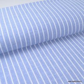 Tissu chambray aspect Lin à rayures coloris Bleu et blanc