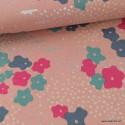 Tissu japonais Canva Coton / lin ECHINO pour Kokka imprimé renards argentés et fleurs fond rose