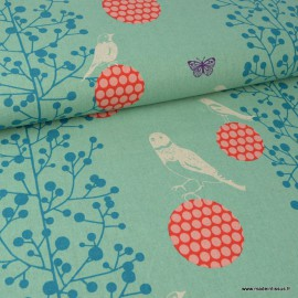 Tissu japonais Canva Coton / lin ECHINO pour Kokka imprimé oiseaux et arbres fond menthe