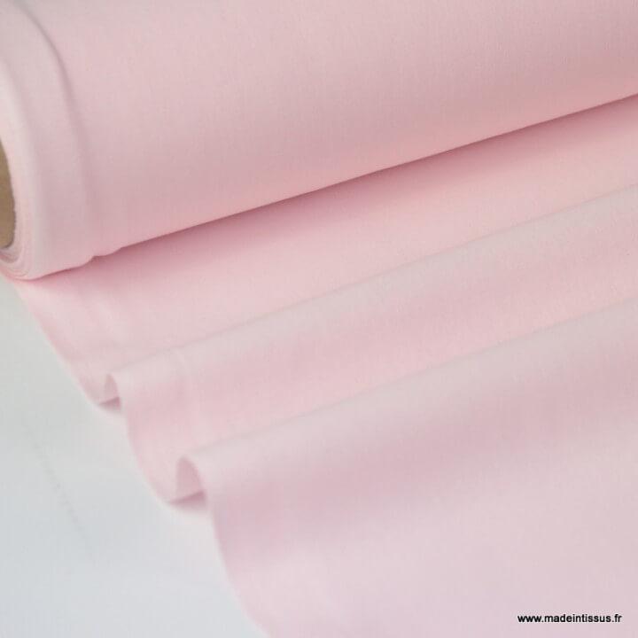 Tissu cretonne coton uni oeko tex  ROSE PALE au mètre