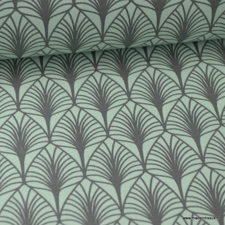 Tissu cretonne coton Oeko tex imprimée feuilles Menthe .x1m