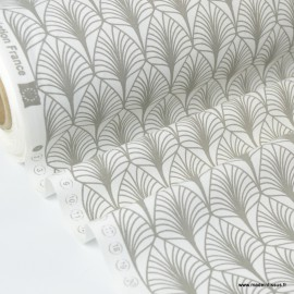 Tissu cretonne coton Oeko tex imprimée feuilles Naturel