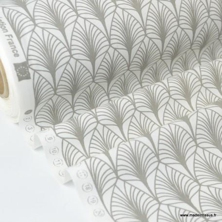 Tissu cretonne coton Oeko tex imprimée feuilles Naturel.x1m