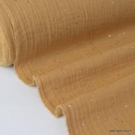 Tissu Double gaze coton Glitter à pois OR coloris CAMEL