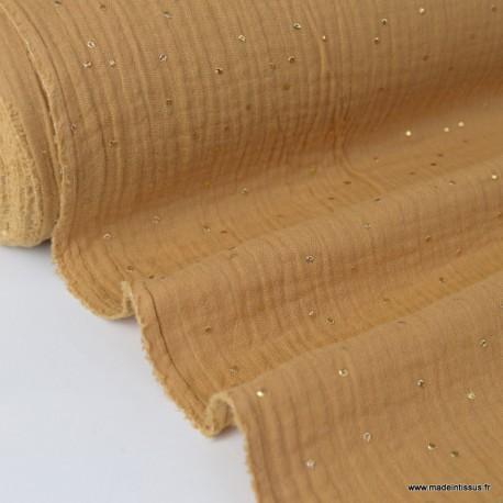 Tissu Double gaze coton Glitter à pois OR coloris CAMEL .x1m