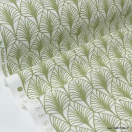 Tissu cretonne coton Oeko tex imprimée feuilles Vert olive x1m