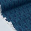 Tissu cretonne coton Oeko tex imprimée feuilles Petrole x1m