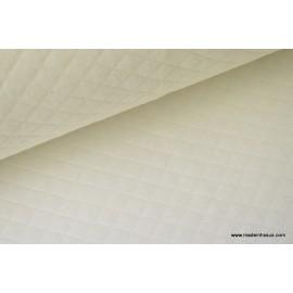 Tissu Jersey coton matelassé 1x1 ivoire pour confection habillement .x1m