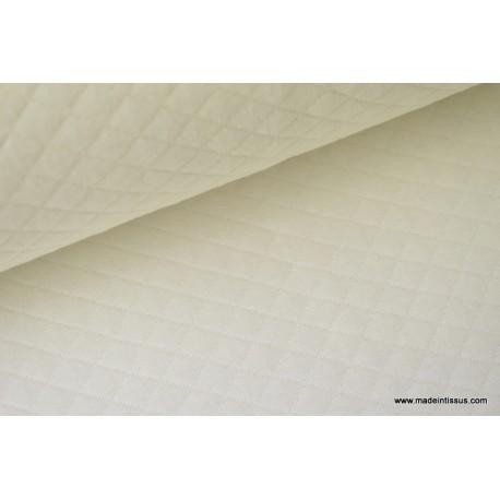 Jersey coton matelassé 1x1 ivoire pour confection habillement x50cm