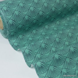 Tissu cretonne coton Oeko tex imprimée feuilles graphiques Vert x1m