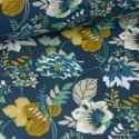 Tissu cretonne coton Oeko tex imprimée fleurs moutarde et menthe fond Vert x1m