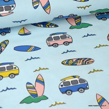 Tissu jersey Oeko tex imprimé Cobis vans et planches de surfs fond bleu