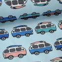 Tissu jersey Oeko tex imprimé Combis vans fond bleu