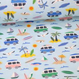 coupon jersey Oeko tex imprimé petits Combis vans et palmiers fond bleu