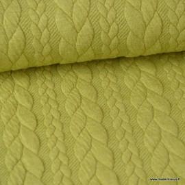 Tissu Jersey matelassé Torsadé coloris Vert Anis