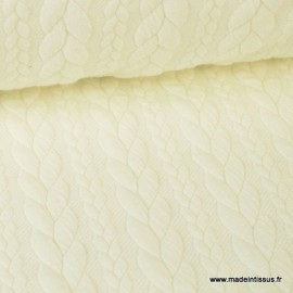 Tissu Jersey motif torsade coloris ivoire au mètre