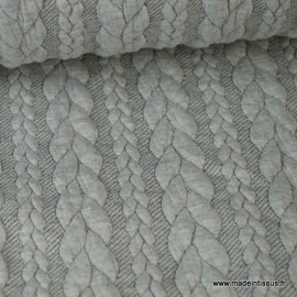 Tissu Jersey motif torsade coloris gris perle chiné au mètre