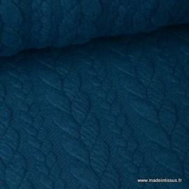 Tissu Jersey motif torsade coloris bleu pétrole au mètre