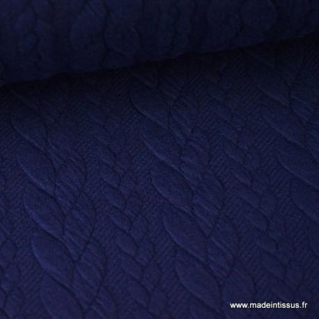 Tissu Jersey motif torsade coloris bleu marine au mètre