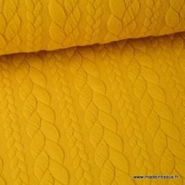Tissu Jersey motif torsade coloris moutarde au mètre