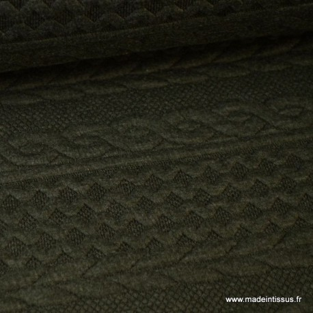 Tissu Jersey motif torsade coloris Kaki au mètre