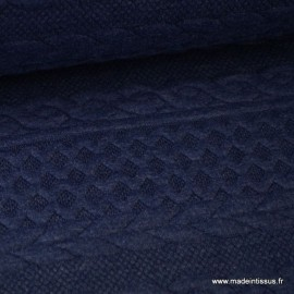 Tissu Jersey motif torsade coloris Bleu denim au mètre