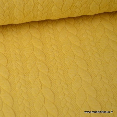 Tissu Jersey motif torsade coloris jaune au mètre