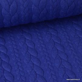 Tissu Jersey motif torsade coloris Bleu Royal