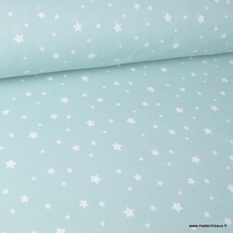 Tissu coton oeko tex imprimé étoiles CELADON .x1m