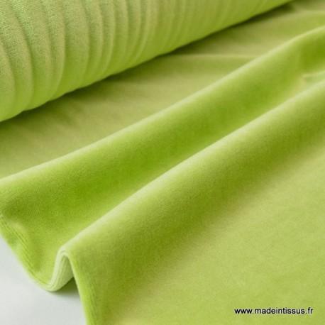 Tissu velours rasé pyjamas nicky Vert Anis x50cm