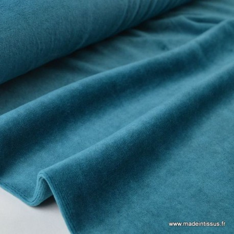 Tissu velours rasé pyjamas nicky Petrole x50cm