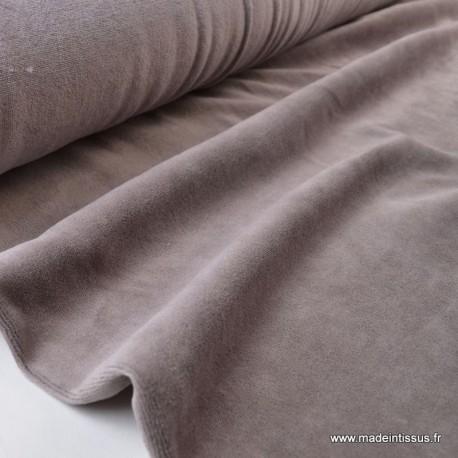 Tissu velours rasé pyjamas nicky Taupe x50cm