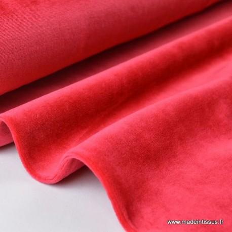 Tissu velours rasé pyjamas nicky Rouge x50cm