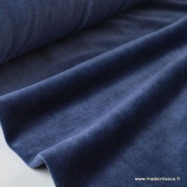 Tissu velours rasé pyjamas nicky Bleu Marine .x1m