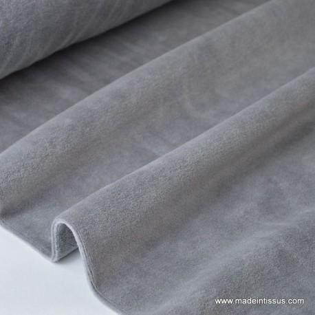 Velours rasé NICKY GRIS05 90%coton 10%pes 150cm 240gr/m²