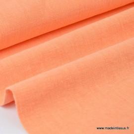 Tissu lin lavé corail