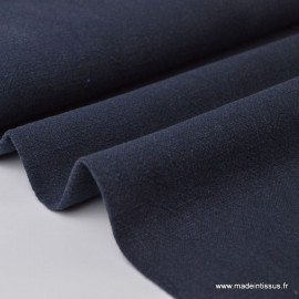Tissu Lin Lavé Bleu marine x1m