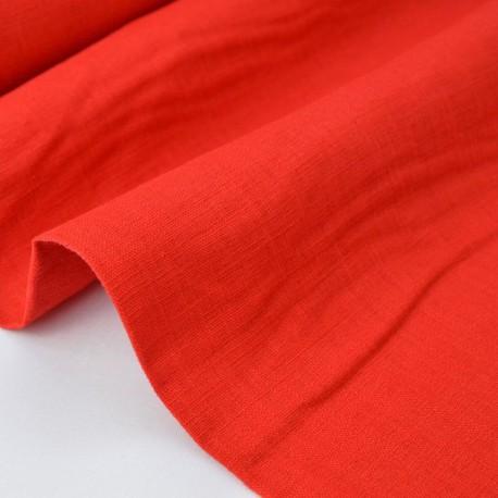 Tissu Lin lavé rouge x50cm