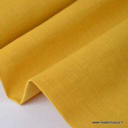 Tissu Lin lavé moutarde x50cm